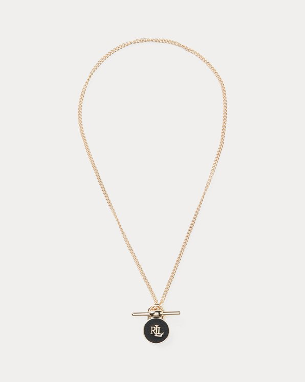 Gold-Tone Logo Leather Padlock Necklace