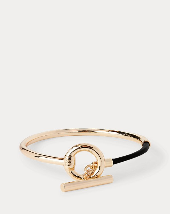 Gold-Tone Leather-Wrapped Bangle