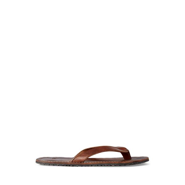 Double Rl Leather Flip-flop In Dark Brown