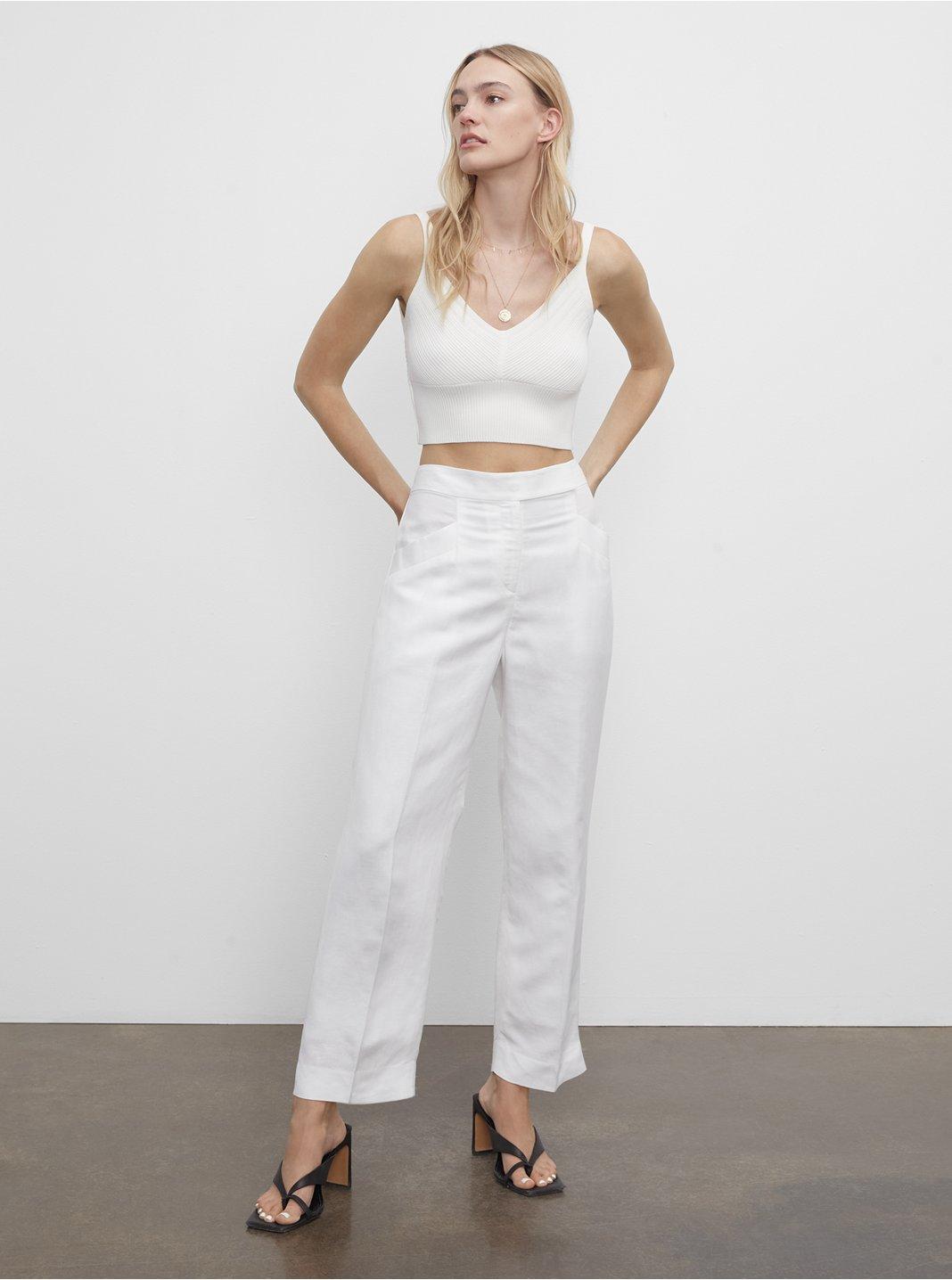 클럽 모나코 우먼 린넨 팬츠 Club Monaco Linen Blend Trouser,White