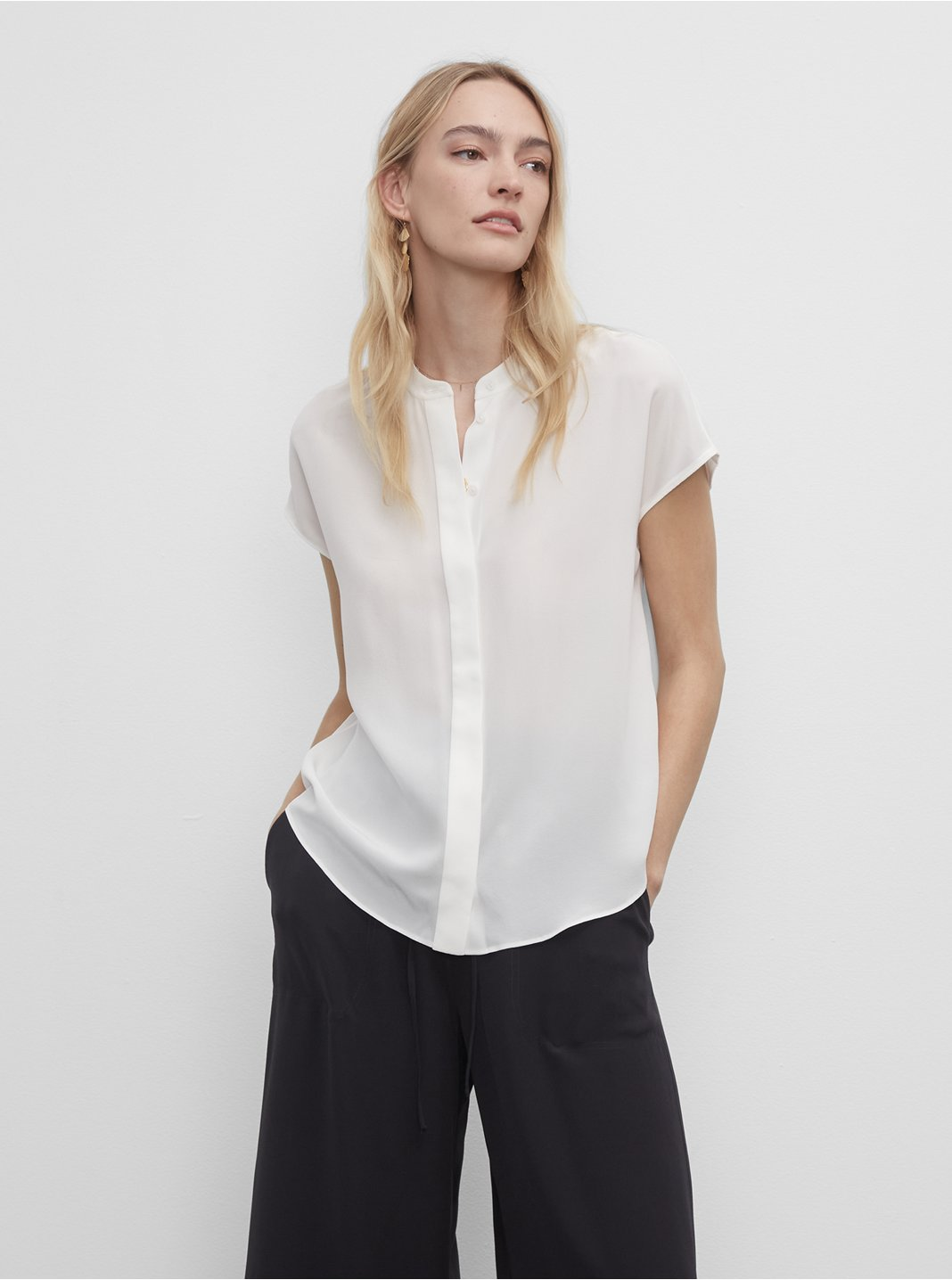 Silk Front Placket Shirt