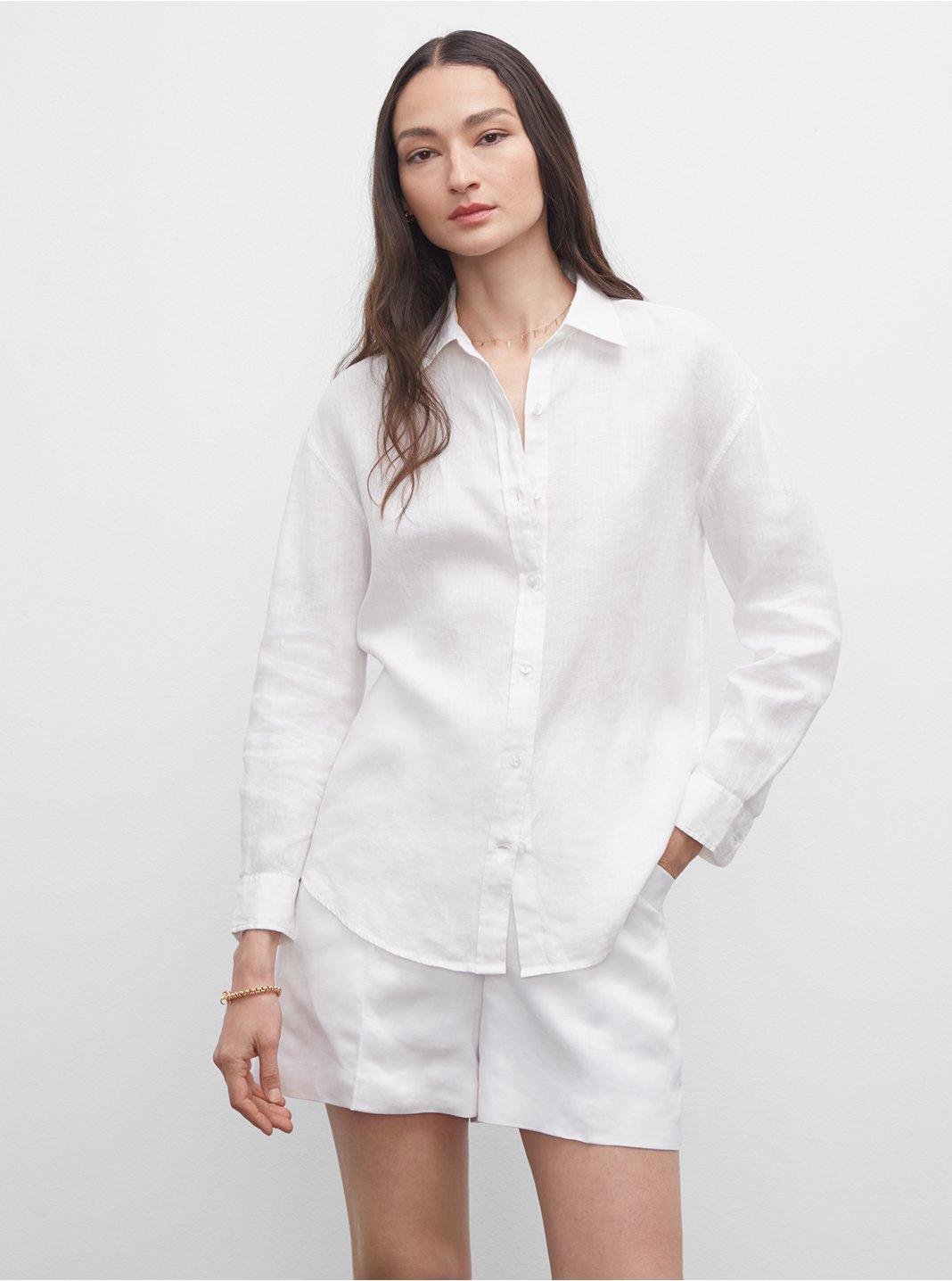 클럽 모나코 린넨 셔츠 Club Monaco Long Sleeve Linen Shirt,White