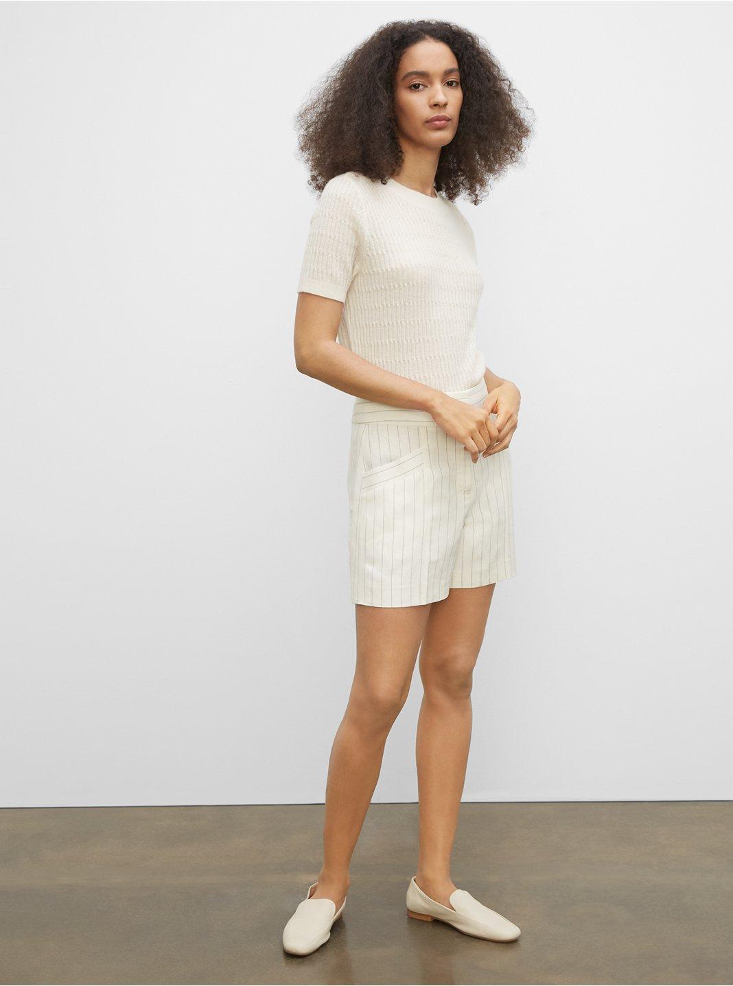 Striped Linen Blend Shorts