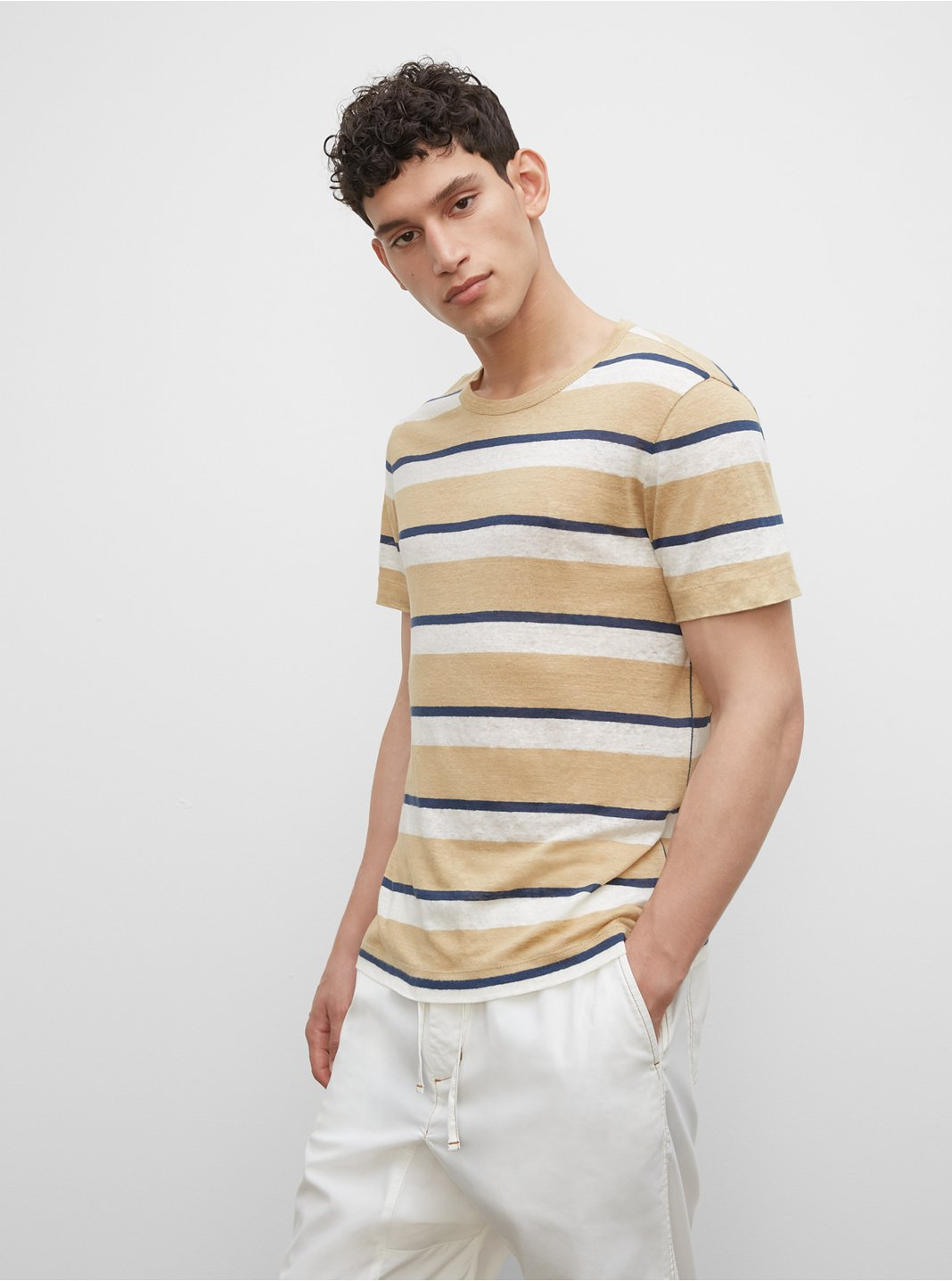Striped Short Sleeve Linen Crew