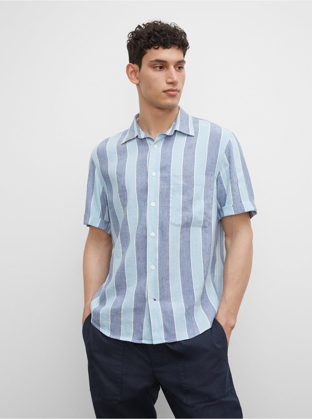 클럽 모나코 셔츠 Club Monaco Striped Short Sleeve Linen Blend Shirt,Deep Ultramarine Multi