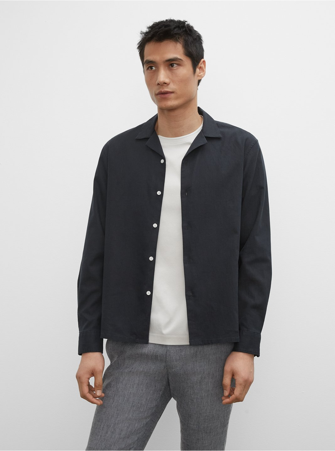 Camp Collar Linen Blend Shirt