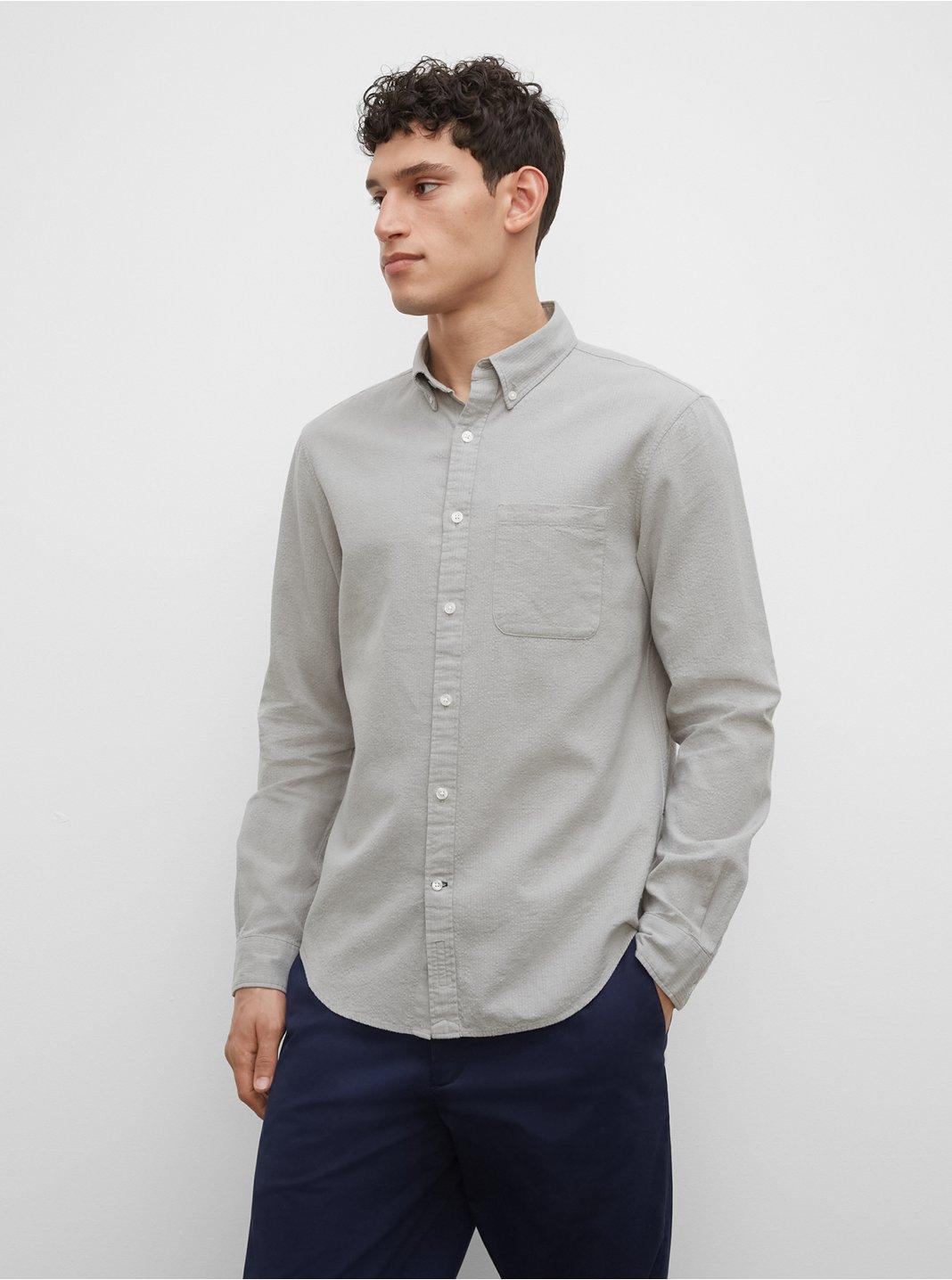 Slim Seersucker Linen Blend Shirt