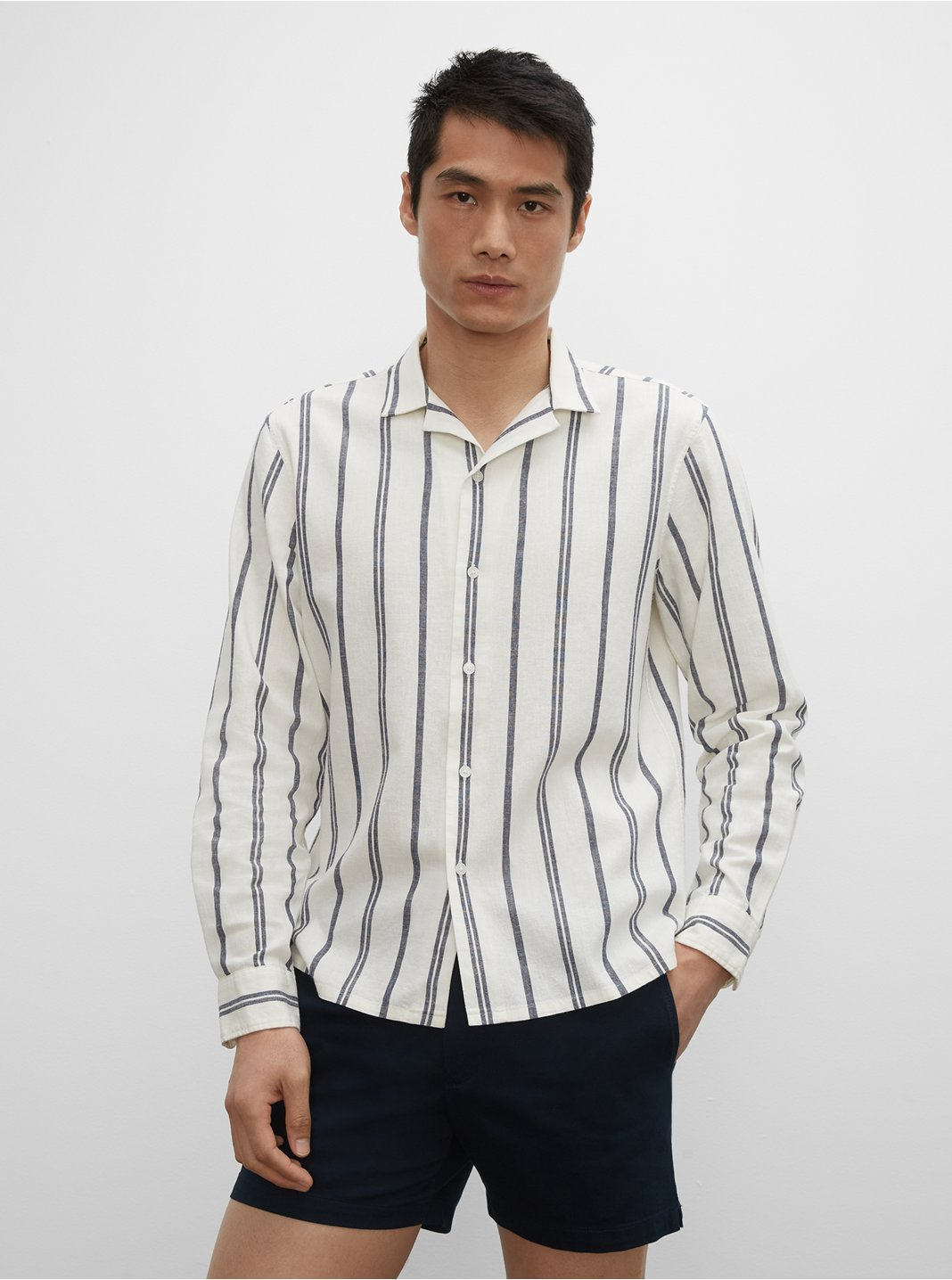 Camp Collar Striped Linen Blend Shirt