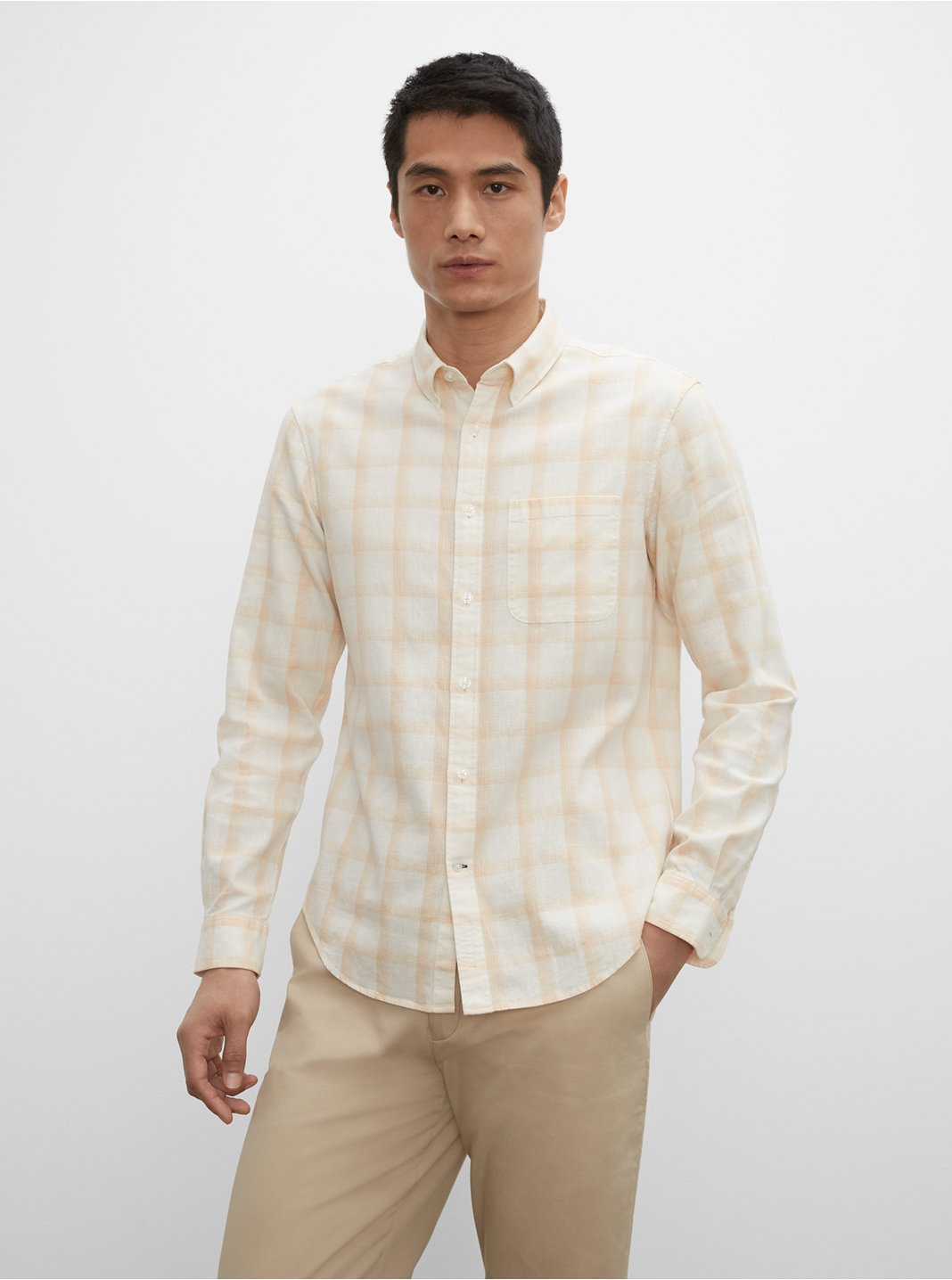 Slim Plaid Linen Shirt