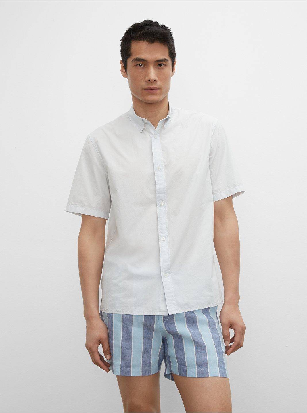 클럽 모나코 셔츠 Club Monaco Short Sleeve Tea Dyed Poplin Shirt,Blue