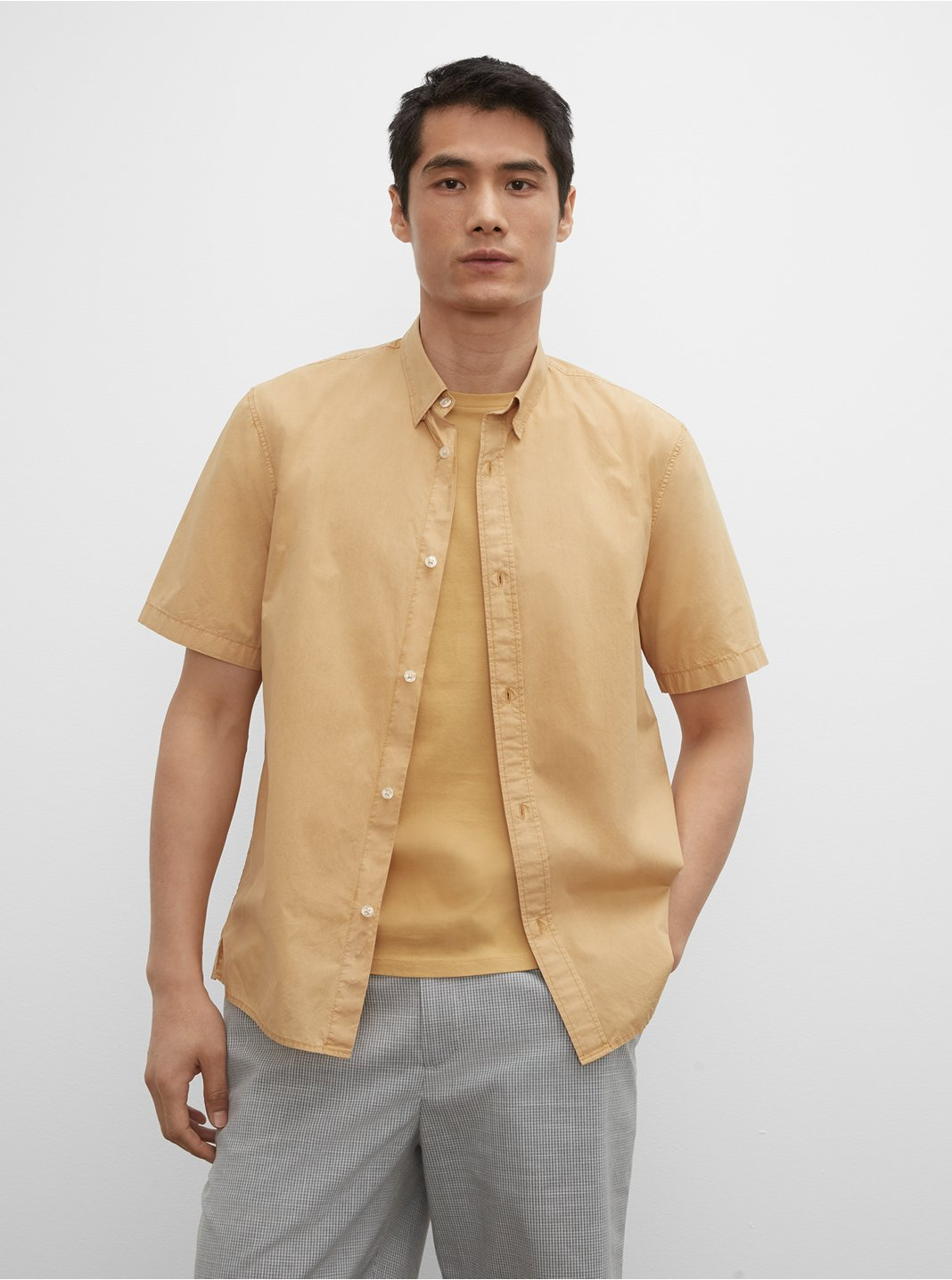Short Sleeve Tea Dyed Poplin Shirt