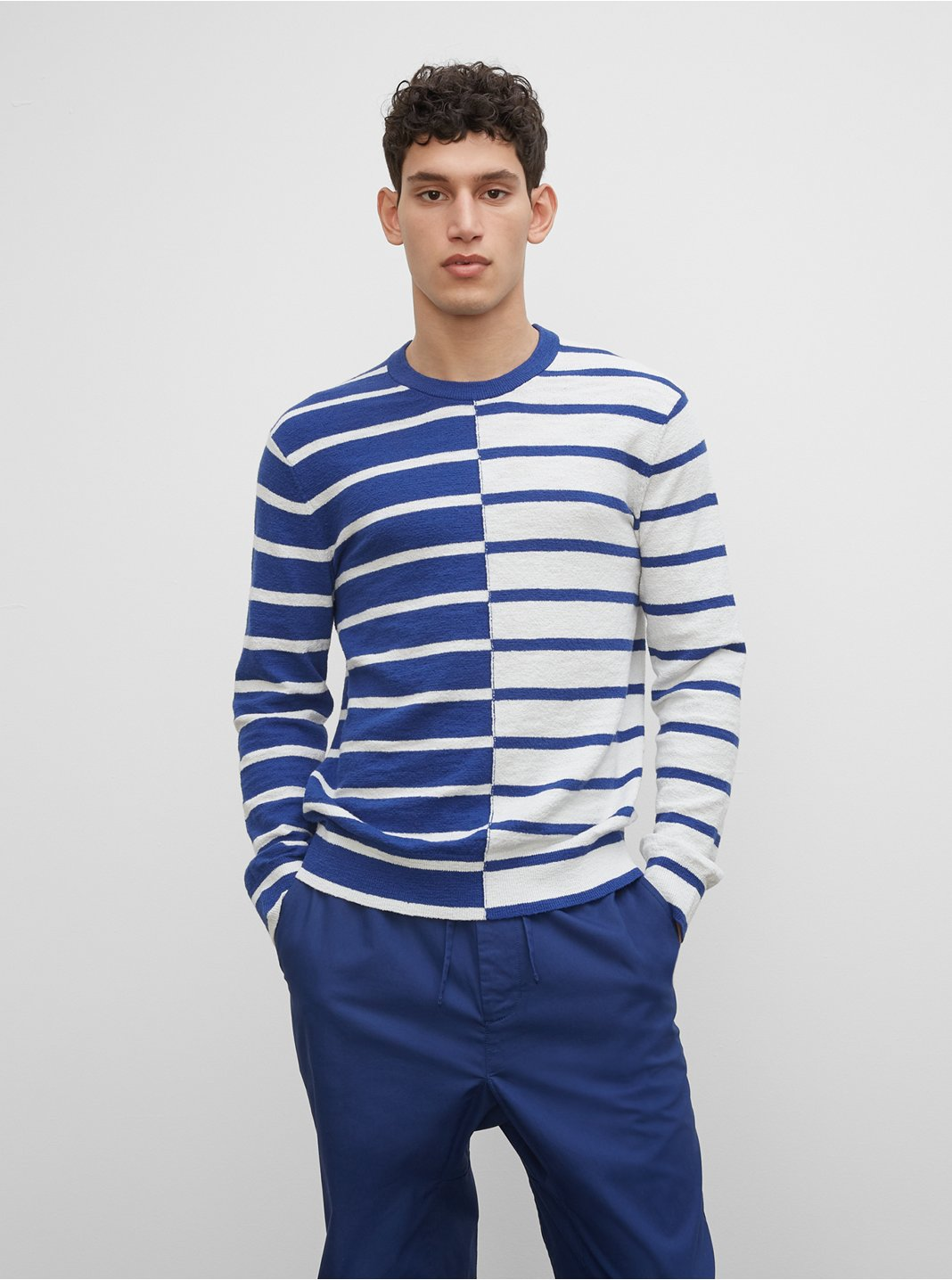 Cotton Slub Stripe Crew Sweater
