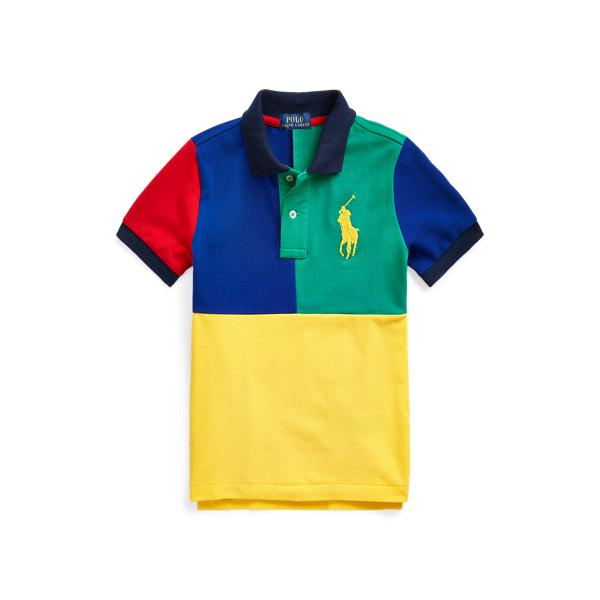 Polo Ralph Lauren Kids' Big Pony Cotton Mesh Polo Shirt In True Green Multi