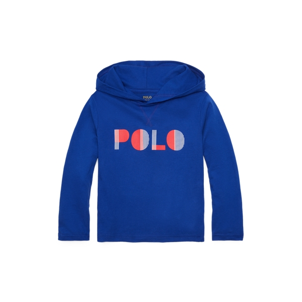 Polo Ralph Lauren Kids' Logo Cotton Hooded Tee In Rugby Royal