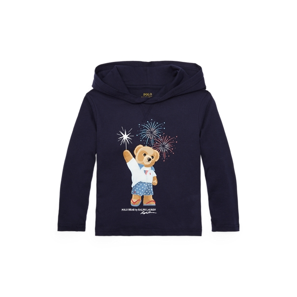 Polo Ralph Lauren Kids' Polo Bear Cotton Hooded Tee In Blue