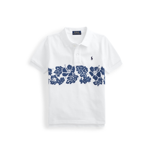 Polo Ralph Lauren Kids' Floral Cotton Mesh Polo Shirt In White