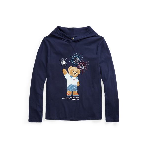 Polo Ralph Lauren Kids' Polo Bear Cotton Hooded Tee In Cruise Navy