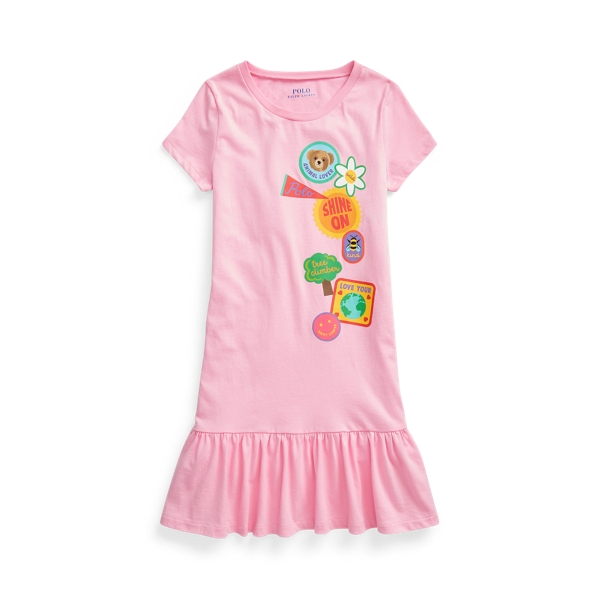 Polo Ralph Lauren Kids' Cotton Jersey Graphic Tee Dress In Taylor Rose