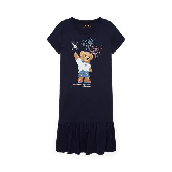 Polo Ralph Lauren Kids' Polo Bear Cotton Jersey Tee Dress In Blue