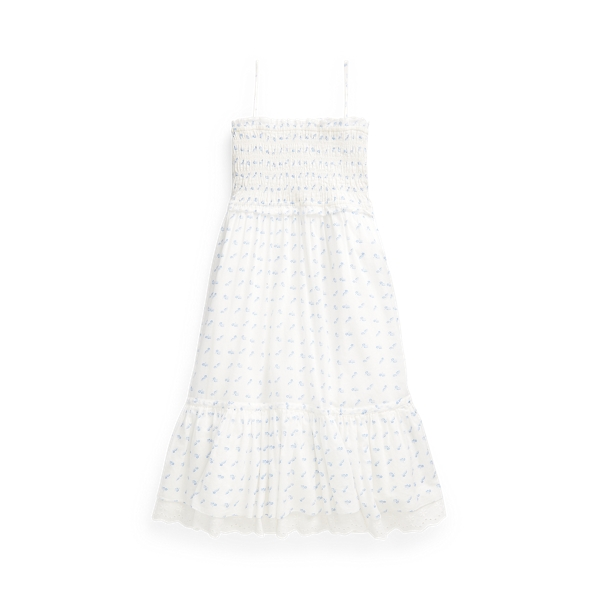 Polo Ralph Lauren Kids' Floral Smocked Cotton Dress In Neutrals