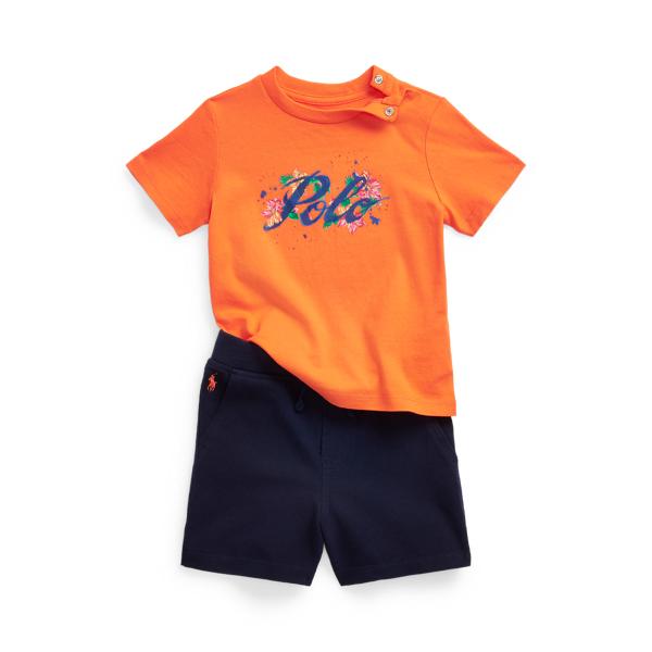 폴로 랄프로렌 베이비 아기옷 우주복 Polo Ralph Lauren Logo Cotton Tee Mesh Short Set,Bright Signal Orange