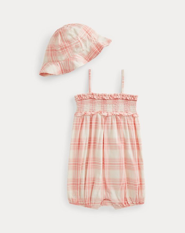 Plaid Bubble Shortall & Hat Set