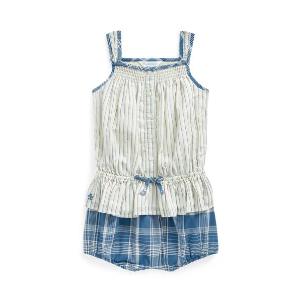 Ralph Lauren Babies' Striped Top & Bloomer Short Set In Blue Multi