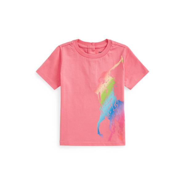 Ralph Lauren Babies' Ombré Big Pony Jersey Tee In Ribbon Pink