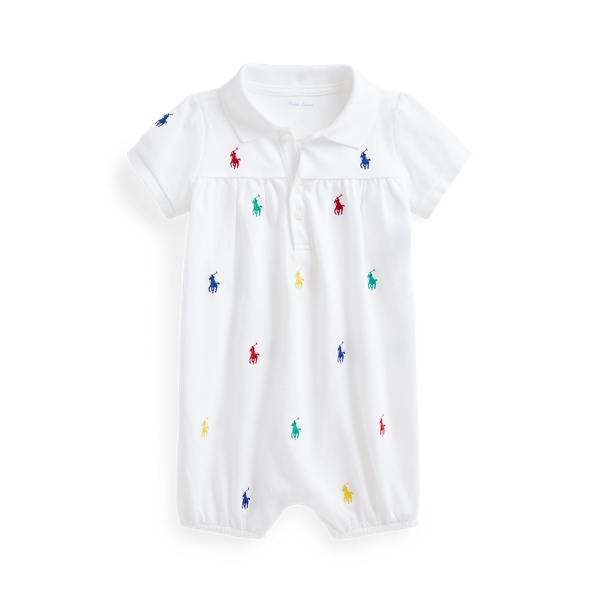 Ralph Lauren Girls' Embroidered Pony Bubble Romper - Baby In White