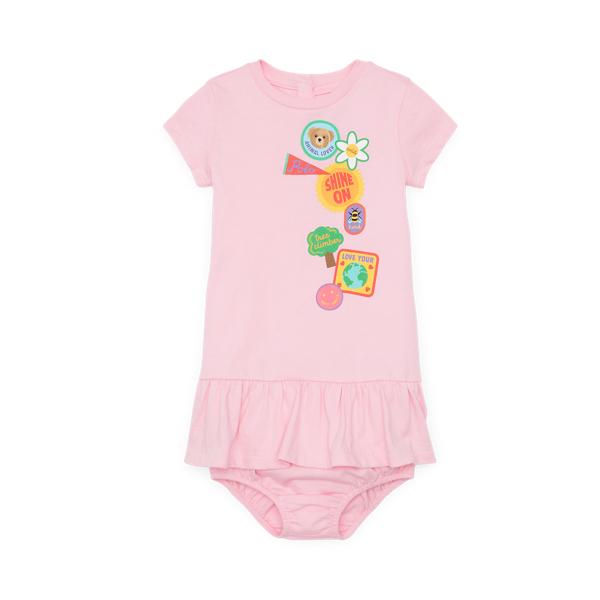 Ralph Lauren Babies' Logo Graphic Dress & Bloomer In Pink