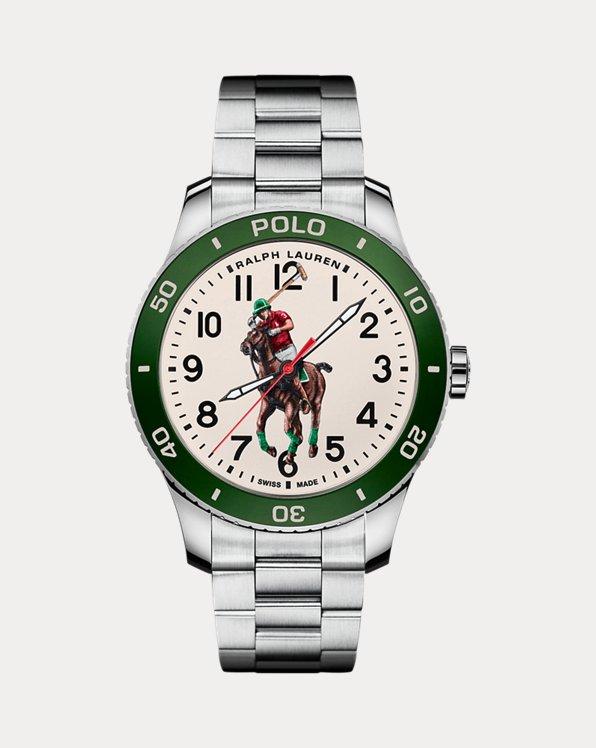 Polo Watch Green Dial Steel Bracelet
