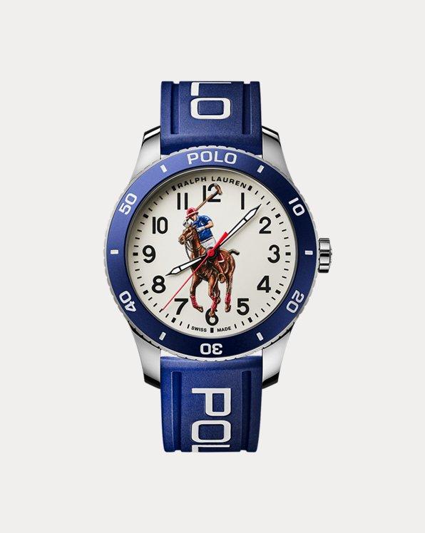 Polo Watch Blue Bezel White Dial