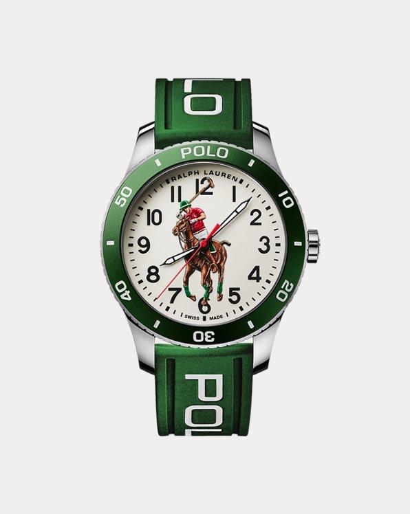 Polo Watch Green Bezel White Dial