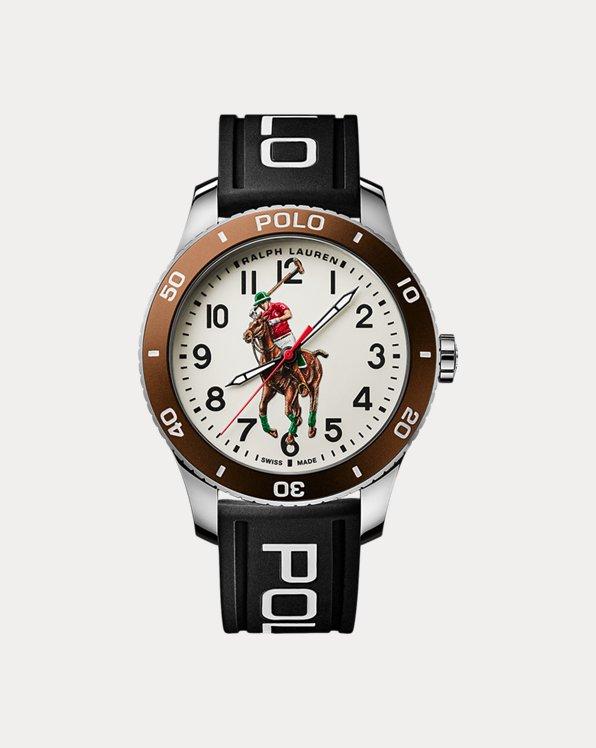 Polo Watch Brown Bezel White Dial