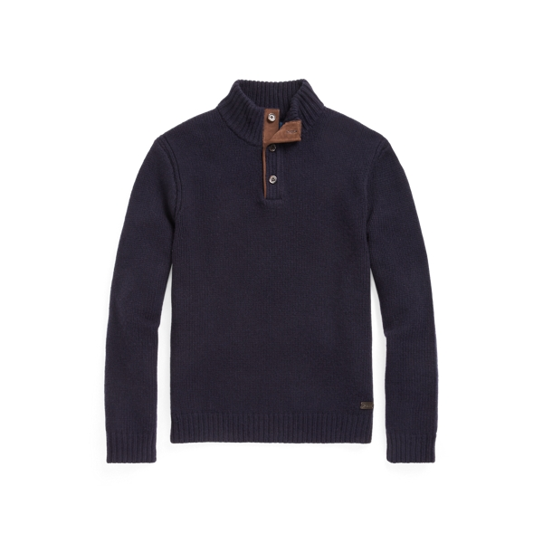 폴로 랄프로렌 맨 울 모크넥 스웨터 Polo Ralph Lauren Wool Mockneck Sweater,Navy Blue