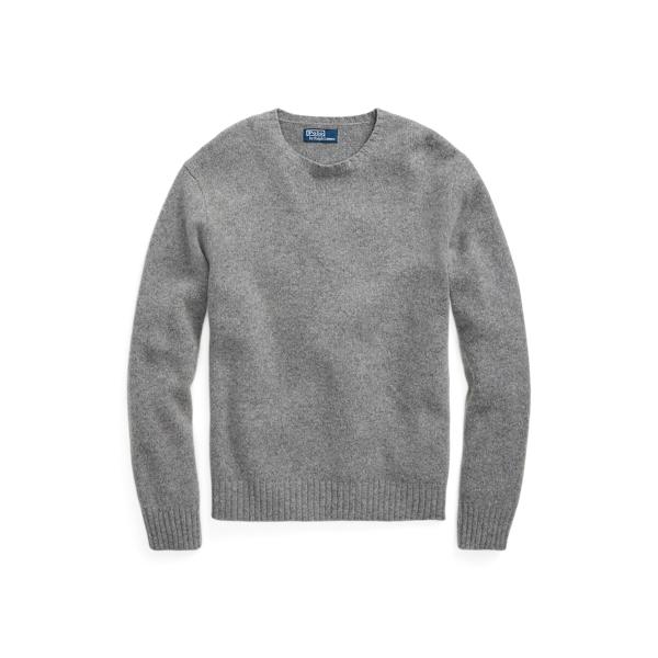 폴로 랄프로렌 맨 스웨이드 패치 울캐시미어 스웨터 Polo Ralph Lauren Suede Patch Wool Cashmere Sweater,Fawn Grey Heather