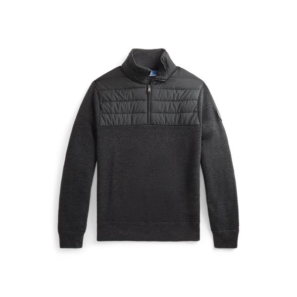 폴로 랄프로렌 맨 하이브리드 쿼터집 스웨터 Polo Ralph Lauren Hybrid Quarter Zip Sweater,Dark Charcoal Htr/Polo Bl