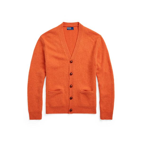 폴로 랄프로렌 맨 가디건 Polo Ralph Lauren Suede Patch Wool Cashmere Cardigan,Jaffa Orange Heather