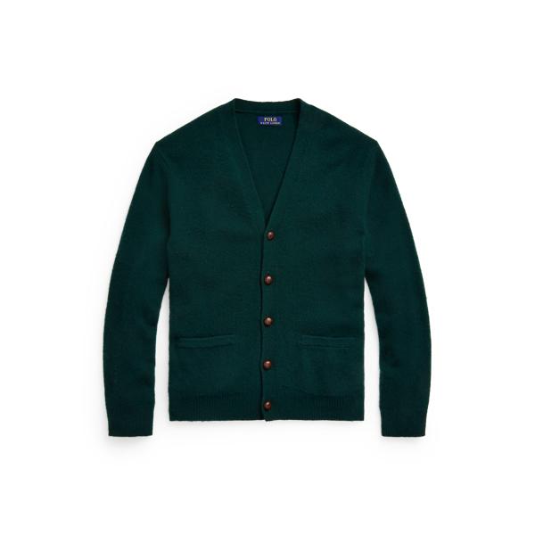 폴로 랄프로렌 맨 가디건 Polo Ralph Lauren Suede Patch Wool Cashmere Cardigan,Hunt Club Green