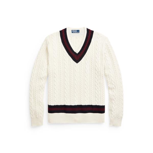 폴로 랄프로렌 맨 아이코닉 크리켓 스웨터 Polo Ralph Lauren The Iconic Cricket Sweater,Cream Multi