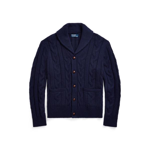 폴로 랄프로렌 맨 꽈배기 니트 울 캐시미어 가디건 Polo Ralph Lauren Cable Knit Wool Cashmere Cardigan, Hunter Navy