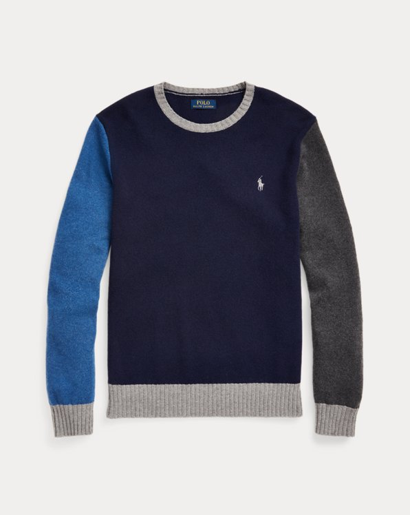 Colour-Blocked Wool-Cashmere Jumper