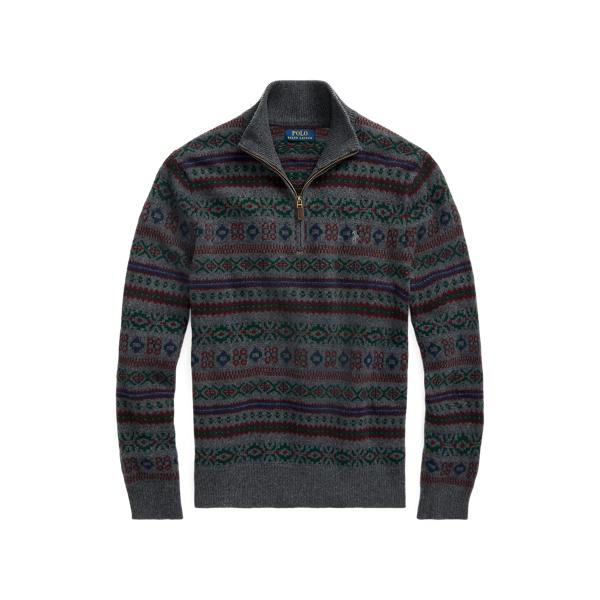폴로 랄프로렌 맨 페어아일 울 캐시미어 스웨터 Polo Ralph Lauren Fair Isle Wool Cashmere Sweater,Grey Fairisle
