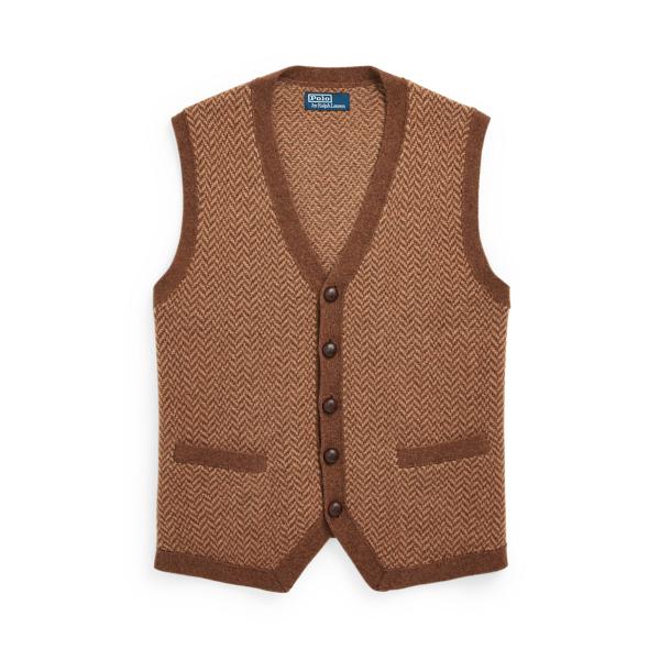 폴로 랄프로렌 맨 카멜 헤어 헤링본 스웨터 조끼 Polo Ralph Lauren Camel Hair Herringbone Sweater Vest,Brown Tweed
