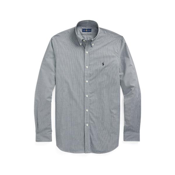 Ralph Lauren Classic Fit Plaid Stretch Poplin Shirt In Gray