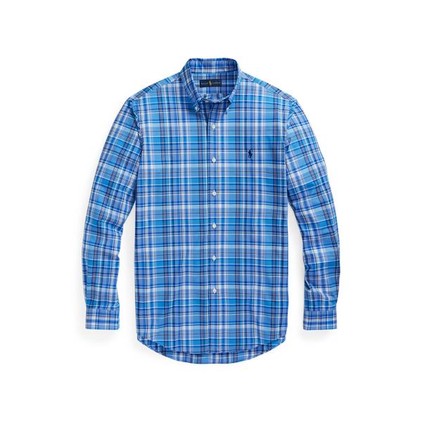 Ralph Lauren Classic Fit Plaid Stretch Poplin Shirt In Blue