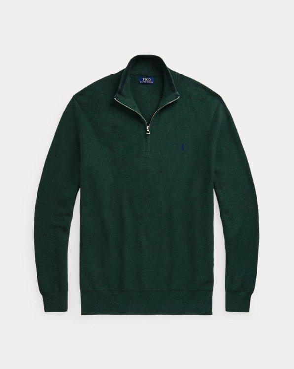 Mesh-Knit Cotton Quarter-Zip Sweater