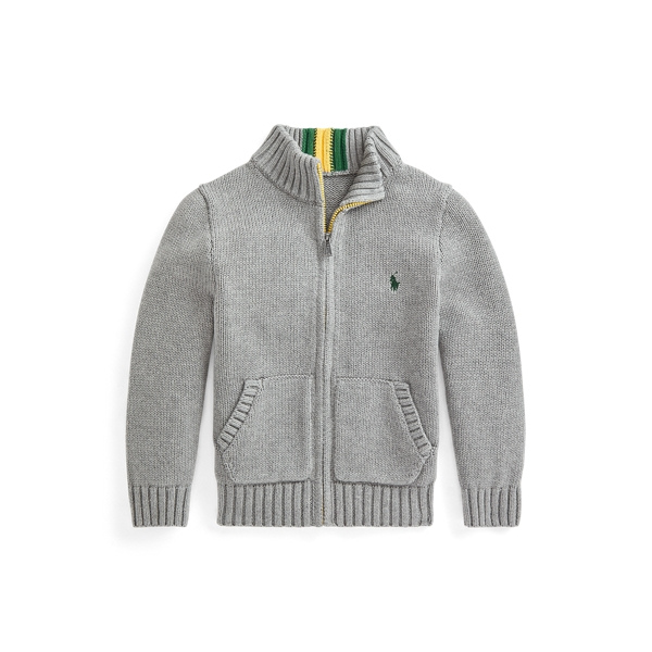 폴로 랄프로렌 Polo Ralph Lauren Cotton Full Zip Sweater,Fawn Grey Heather