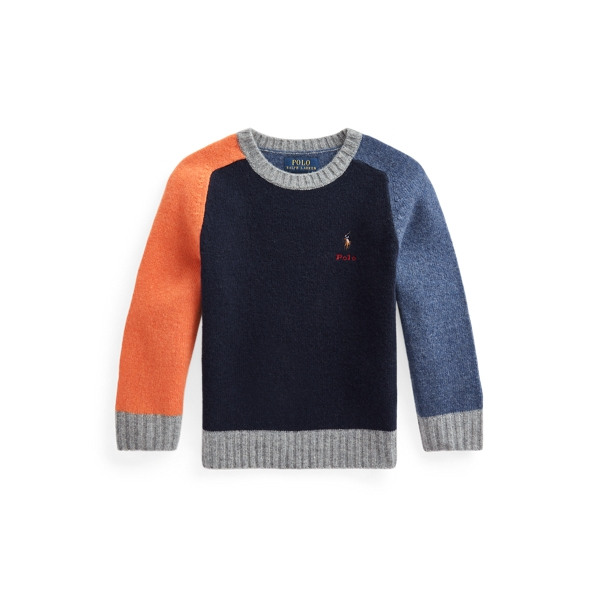 Polo Ralph Lauren Kids' Color-blocked Wool-cashmere Sweater In Multi