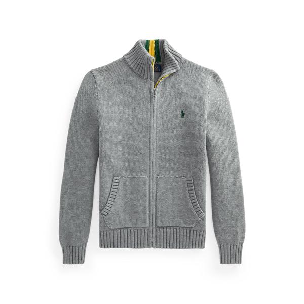 폴로 랄프로렌 보이즈 집업 스웨터 Polo Ralph Lauren Cotton Full Zip Sweater,Fawn Grey Heather